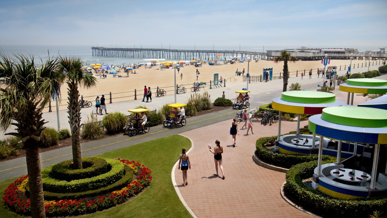 The boardwalk, a hub of activity in Virginia Beach