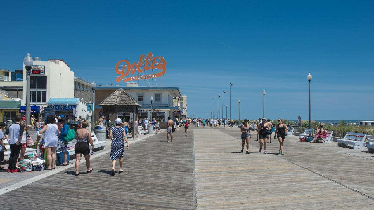 Rehoboth's beach and boardwalk bustling in the summer