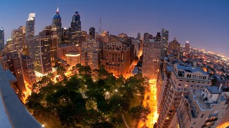 Bird's eye view of Rittenhouse Square in downtown