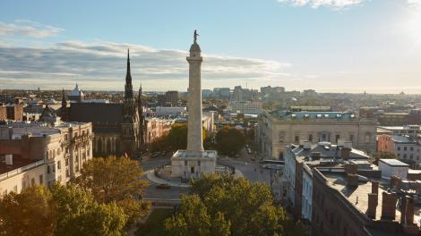 메릴랜드주 볼티모어의 마운트 버넌에 있는 워싱턴 기념탑