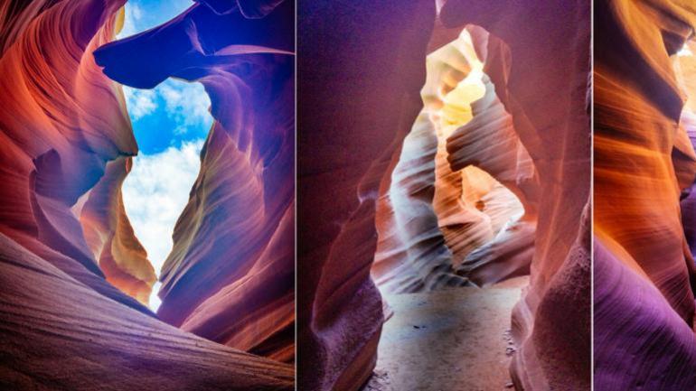 앤털로프 캐니언의 줄무늬 암벽은 파스텔톤 빛을 발합니다.
