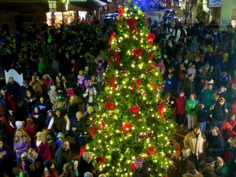 켄터키주 바즈타운의 크리스마스 시즌에 설치된 크리스마스트리