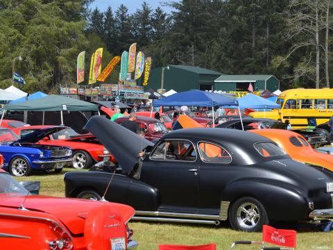 Hot rod cars on display during Ocean Park's Rod Run to the End of the World