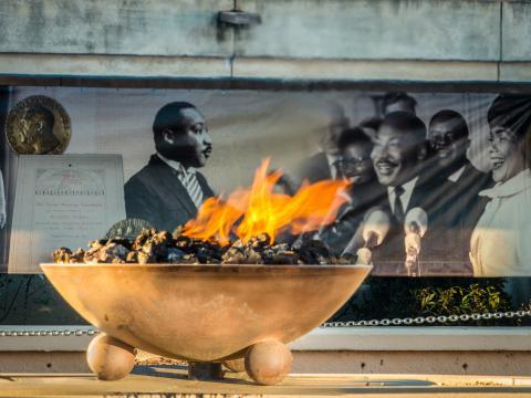 조지아주 애틀랜타의 킹 센터에서 타오르는 불멸의 불꽃