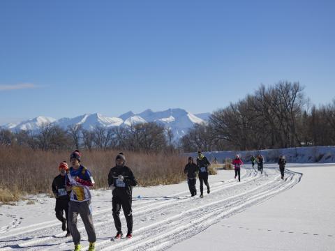 콜로라도주 앨라모사 리오 프리오 얼음 축제 및 5km 마라톤 대회의 마라톤 참여자