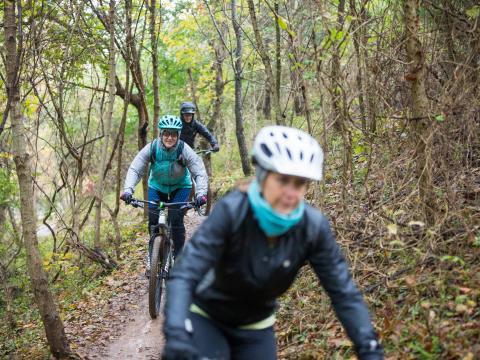 아칸소주 벤턴빌 아우터바이크에서 산악자전거로 트레일을 달리는 참가자들